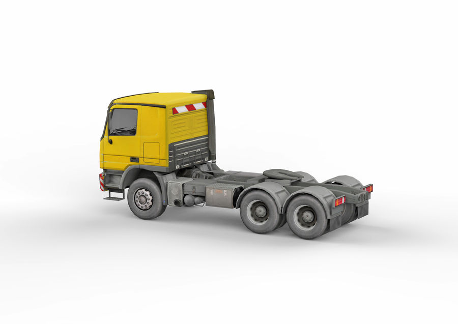 Camion lourd jaune royalty-free 3d model - Preview no. 4