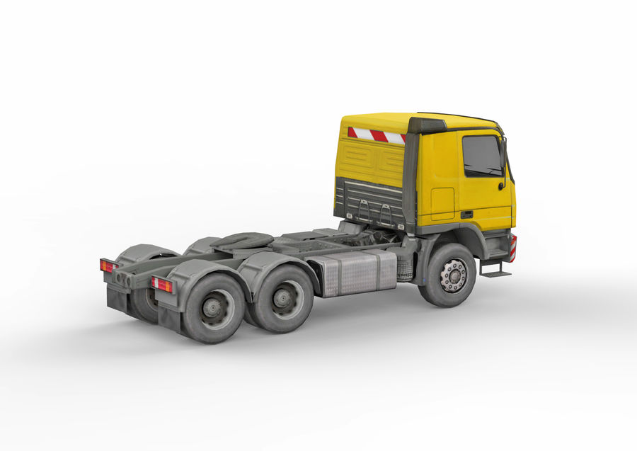 Camion lourd jaune royalty-free 3d model - Preview no. 7