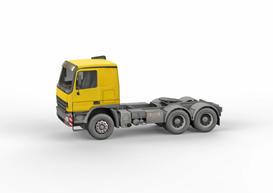 Camion lourd jaune royalty-free 3d model - Preview no. 3