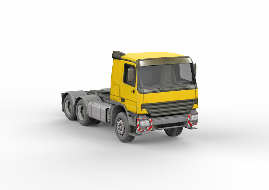 Camion lourd jaune royalty-free 3d model - Preview no. 10