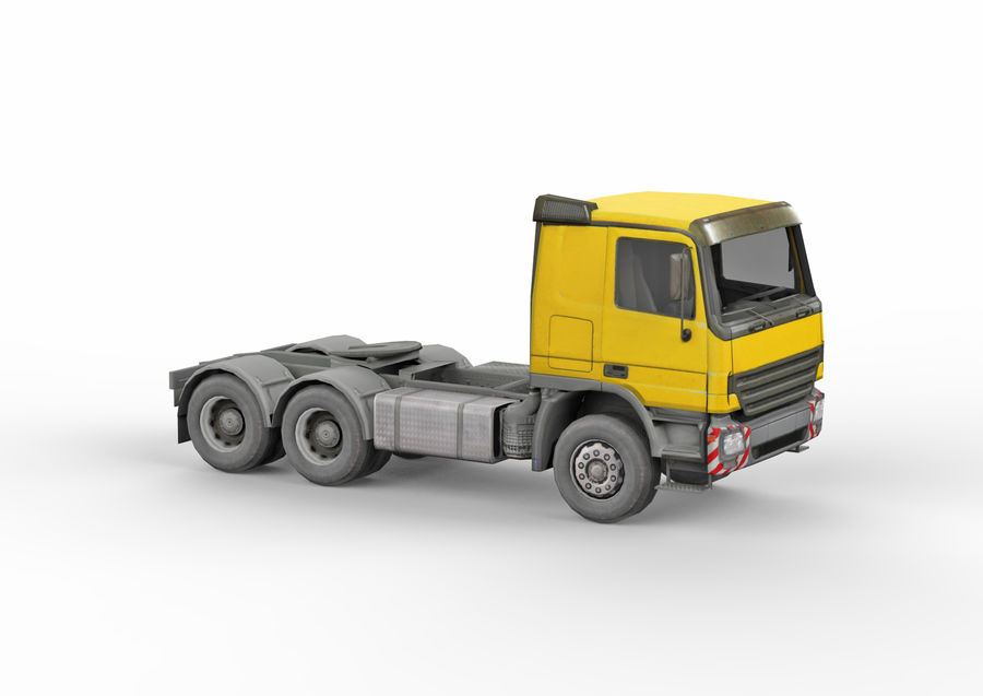 Camion lourd jaune royalty-free 3d model - Preview no. 9