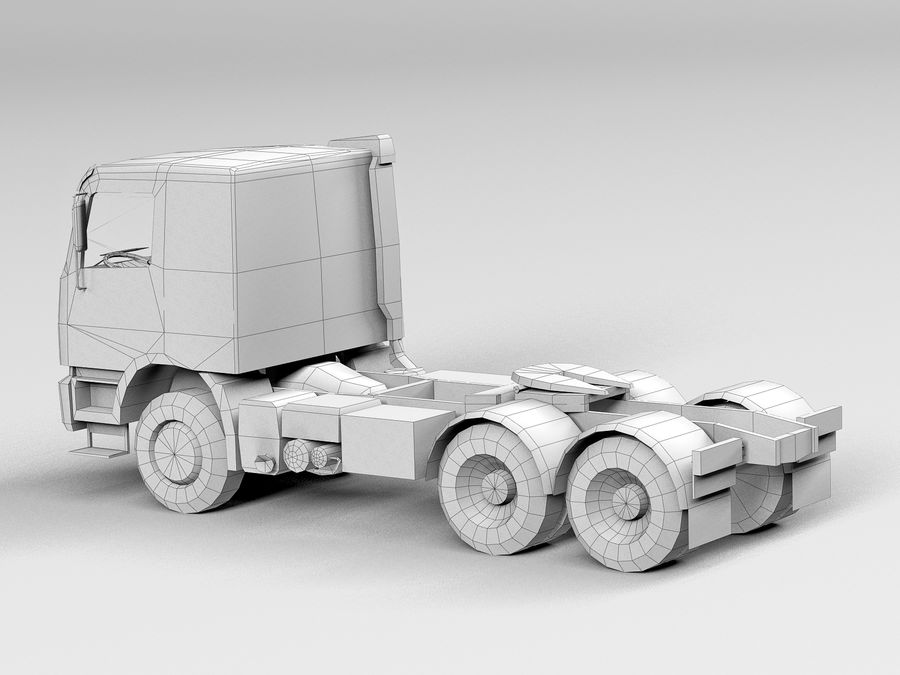 Camion lourd jaune royalty-free 3d model - Preview no. 12