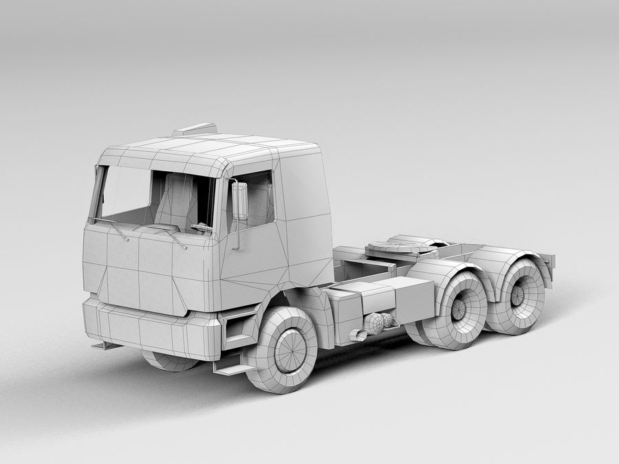 Camion lourd jaune royalty-free 3d model - Preview no. 11