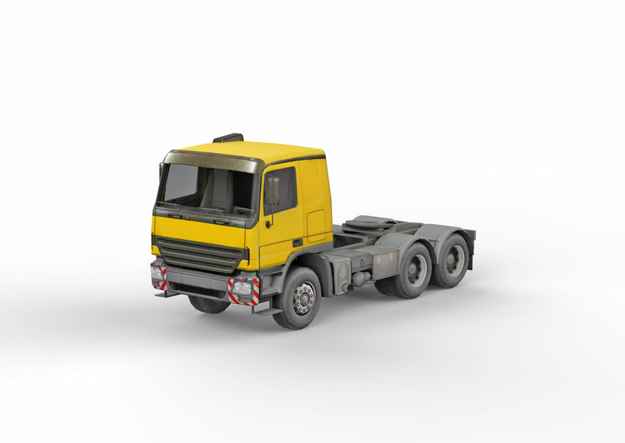 Camion lourd jaune royalty-free 3d model - Preview no. 2