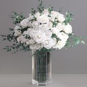 Vaso di rose bianche bianche realistiche 3d model
