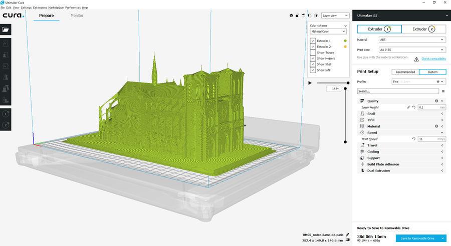 Notre Dame De Paris do druku 3D royalty-free 3d model - Preview no. 15