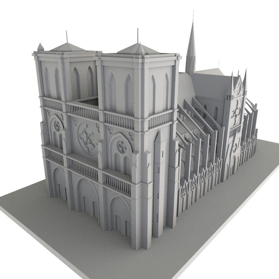 Notre Dame De Paris do druku 3D royalty-free 3d model - Preview no. 6