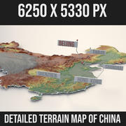Mapa detalhado do terreno da China 3d model