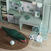 Kidroom furniture and plush toy 3d model