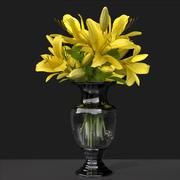 Decorative Flower Vase Lily Bouquet 3d model