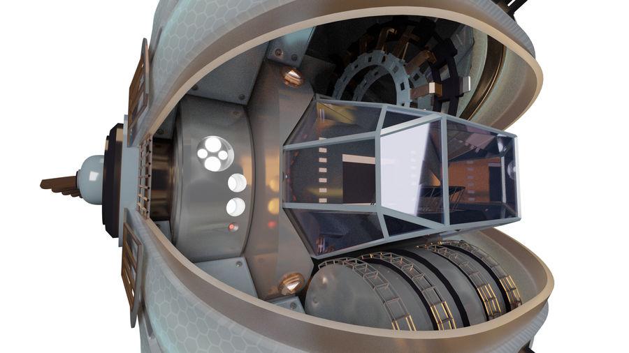 gevleugeld ruimteschip royalty-free 3d model - Preview no. 3