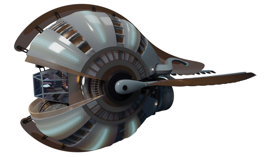 winged space craft royalty-free 3d model - Preview no. 1