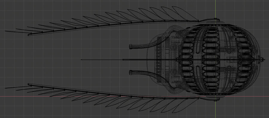 winged space craft royalty-free 3d model - Preview no. 6