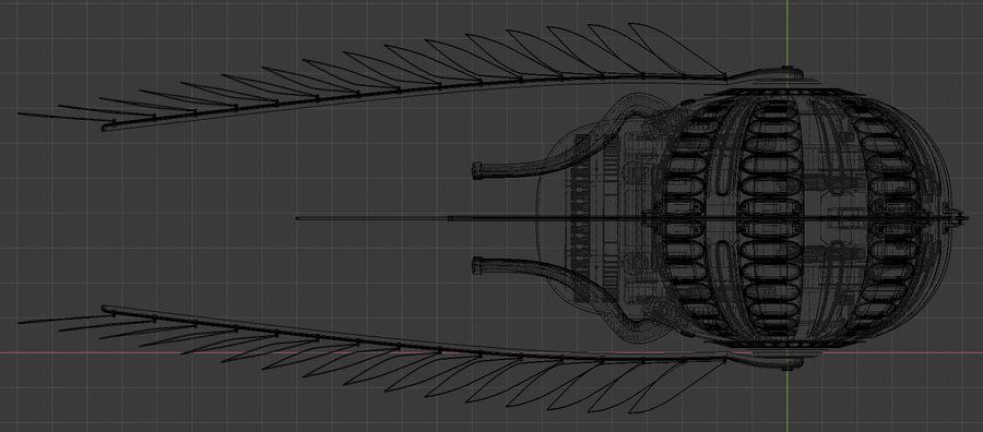 gevleugeld ruimteschip royalty-free 3d model - Preview no. 6