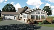 Dom na wsi z tarasem i garażem 3d model