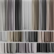Um conjunto de cortinas em diferentes cores e tule 3d model