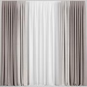 Светло-коричневые шторы с тюлем 3d model