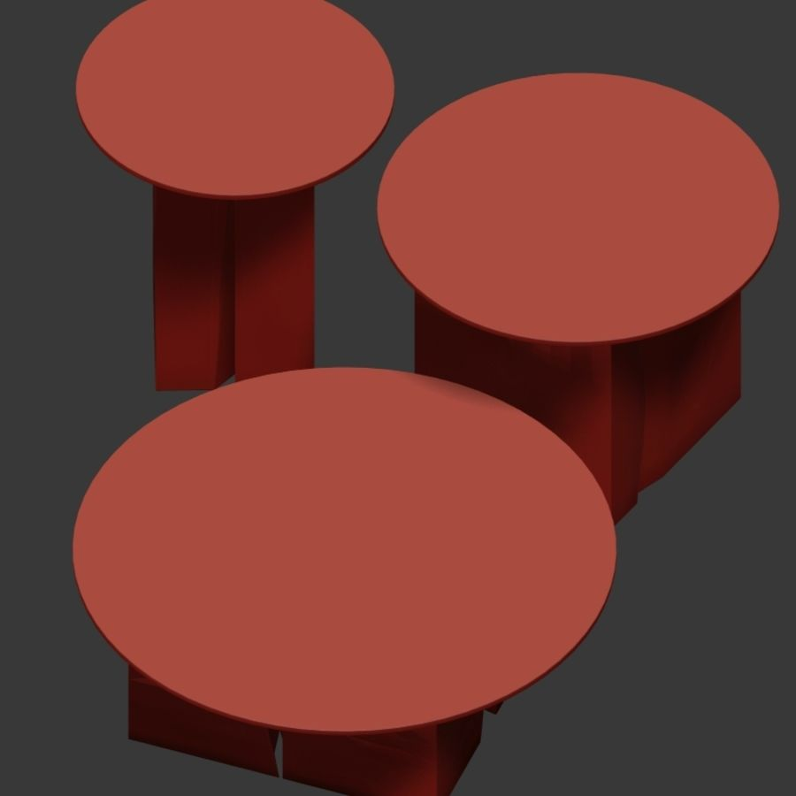 A set of square tables of stumps and slabs with glass tops royalty-free 3d model - Preview no. 4