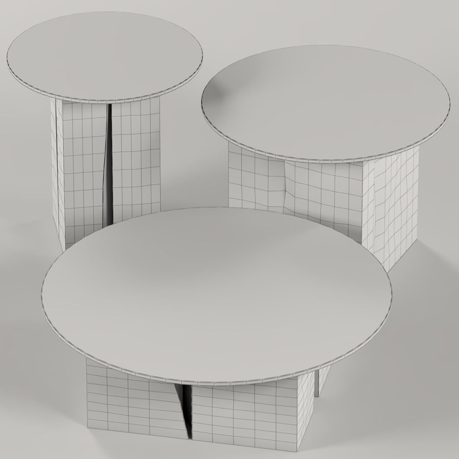 A set of square tables of stumps and slabs with glass tops royalty-free 3d model - Preview no. 3