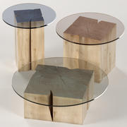 A set of square tables of stumps and slabs with glass tops 3d model