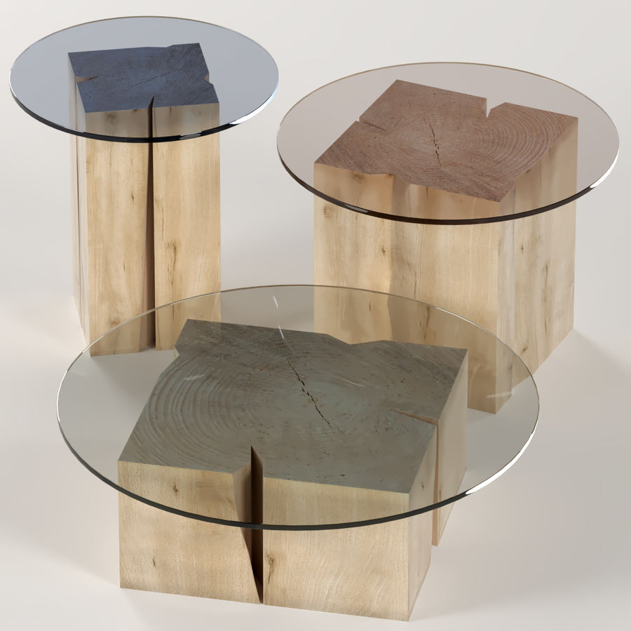 A set of square tables of stumps and slabs with glass tops royalty-free 3d model - Preview no. 1