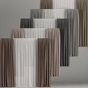 Um conjunto de cortinas em cores diferentes com tule 3d model