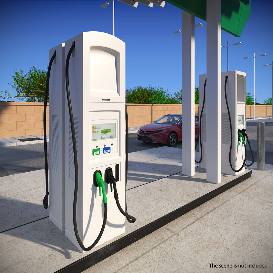 EV Charging Station royalty-free 3d model - Preview no. 3