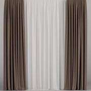 Bruine gordijnen met tule 3d model