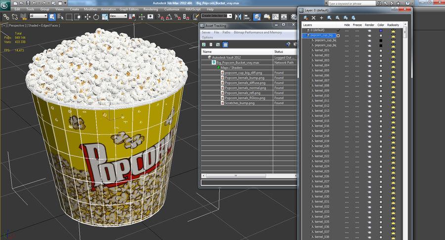 Big Popcorn Bucket royalty-free 3d model - Preview no. 15