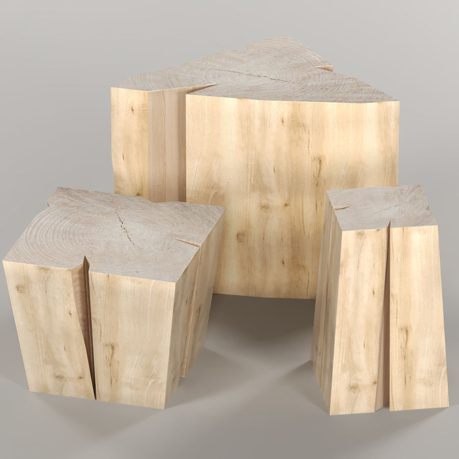 Set of coffee tables from stumps and slab royalty-free 3d model - Preview no. 1