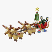 Lego Sleigh With Reindeer 3d model