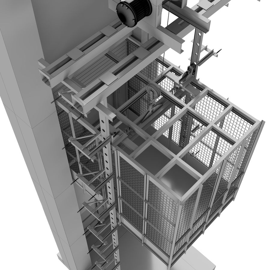 industrial elevator royalty-free 3d model - Preview no. 8