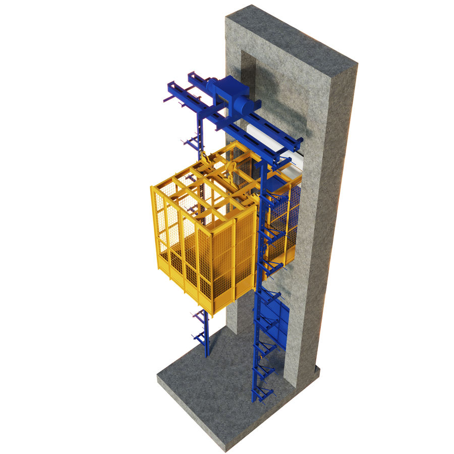 industrial elevator royalty-free 3d model - Preview no. 2