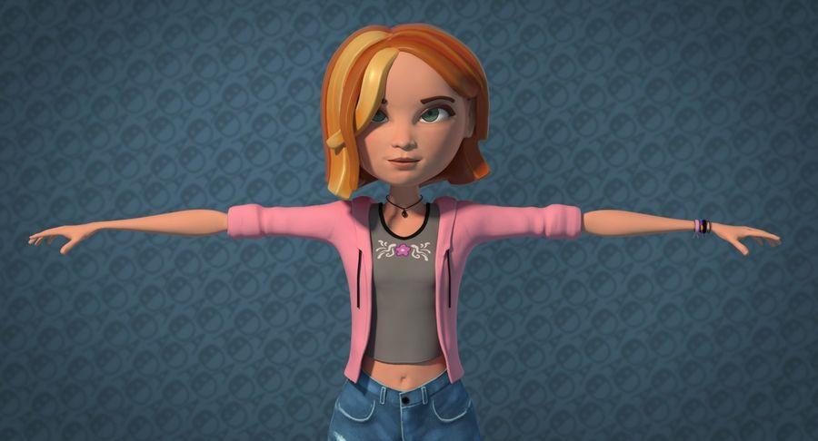 Çizgi film genç kız royalty-free 3d model - Preview no. 2