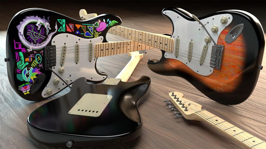 Guitare Fender Stratocaster royalty-free 3d model - Preview no. 8