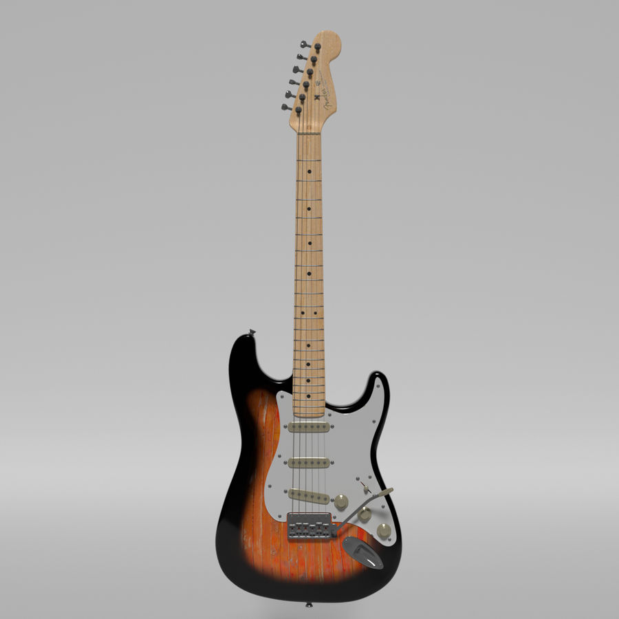 Guitare Fender Stratocaster royalty-free 3d model - Preview no. 19