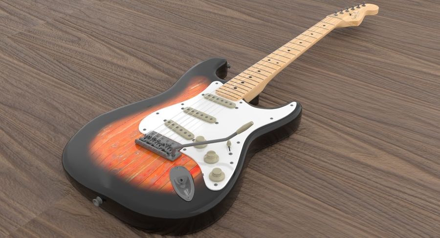 Guitare Fender Stratocaster royalty-free 3d model - Preview no. 2
