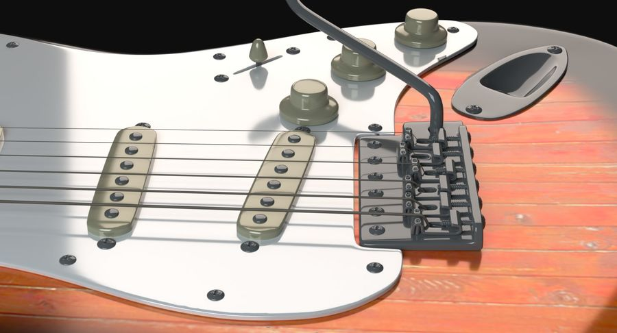 Guitare Fender Stratocaster royalty-free 3d model - Preview no. 4