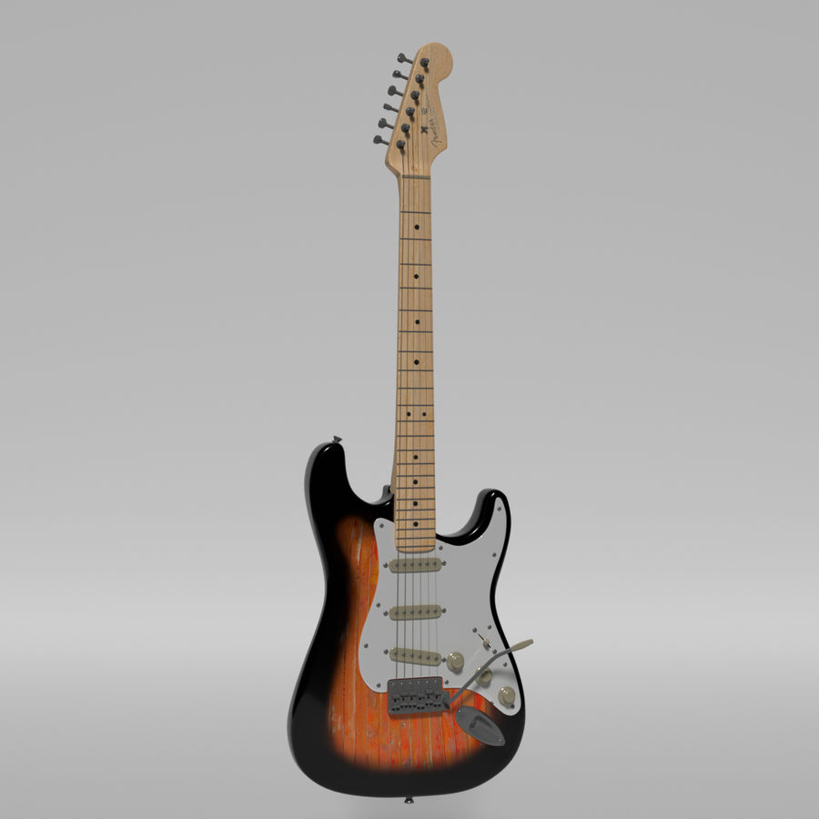 Guitare Fender Stratocaster royalty-free 3d model - Preview no. 21