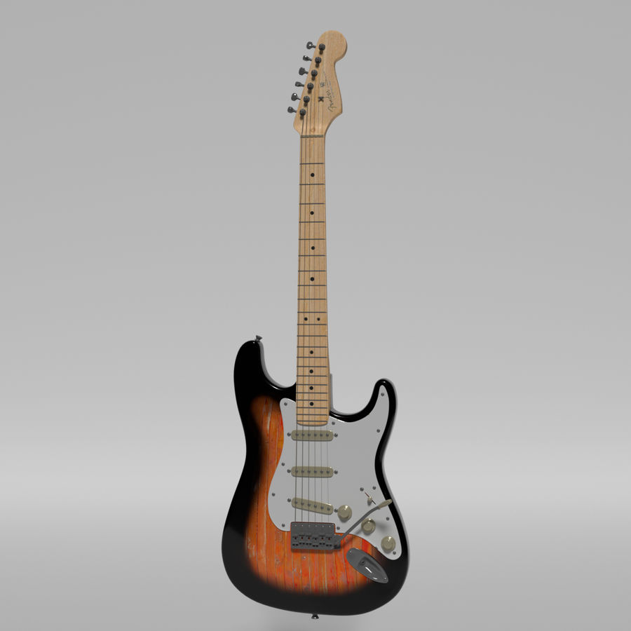 Guitare Fender Stratocaster royalty-free 3d model - Preview no. 54