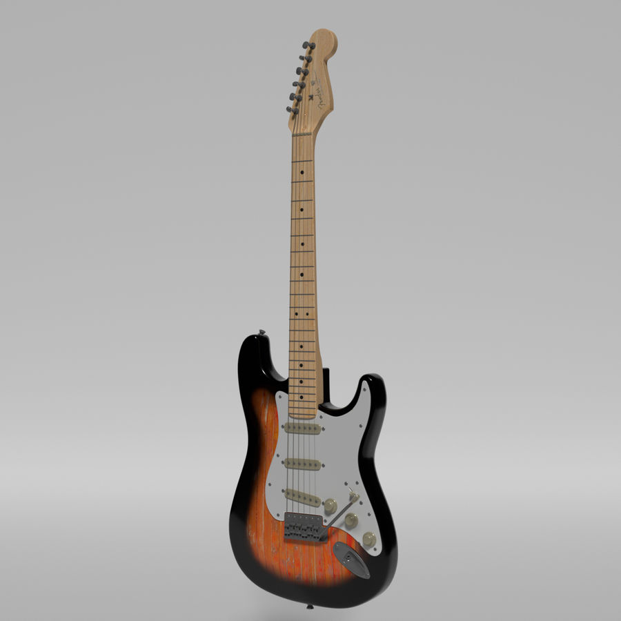 Guitare Fender Stratocaster royalty-free 3d model - Preview no. 52