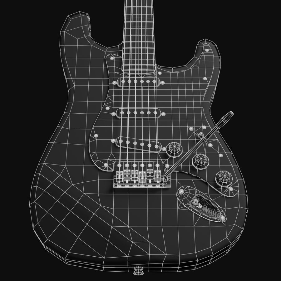 Guitare Fender Stratocaster royalty-free 3d model - Preview no. 13