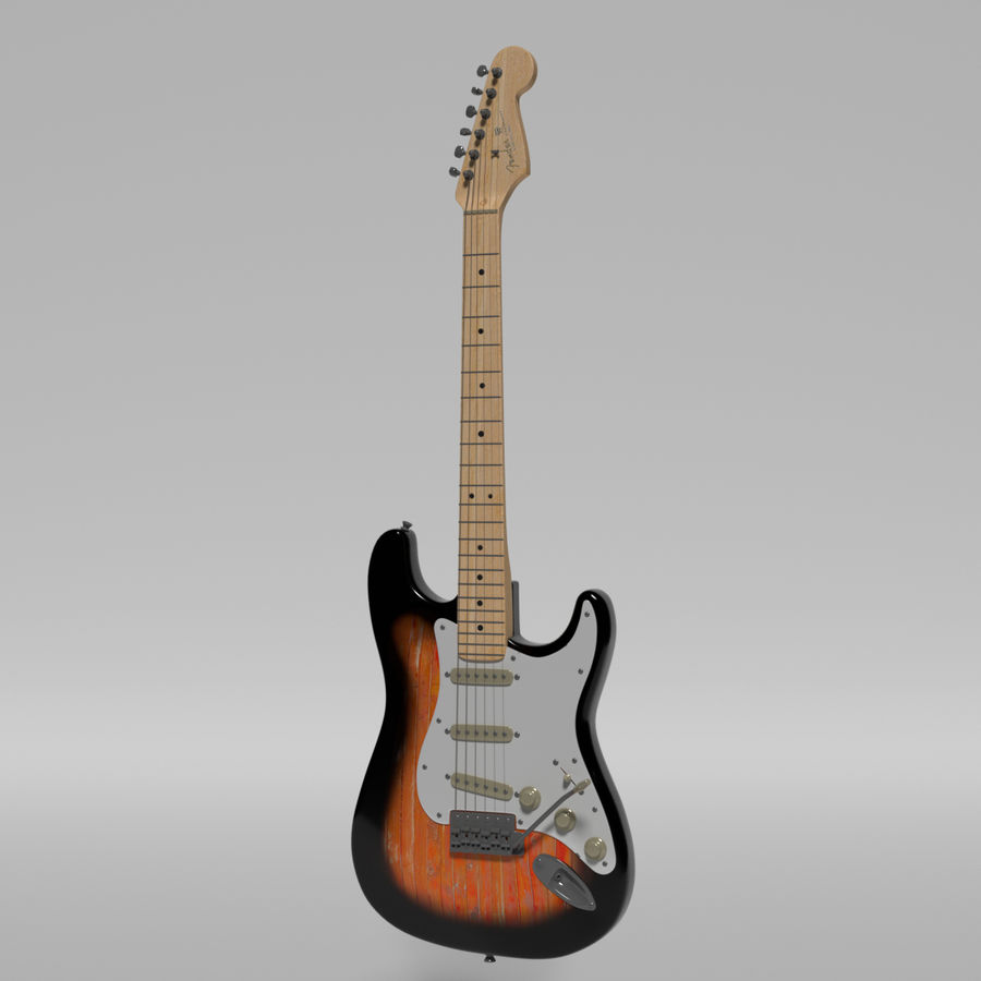 Guitare Fender Stratocaster royalty-free 3d model - Preview no. 53
