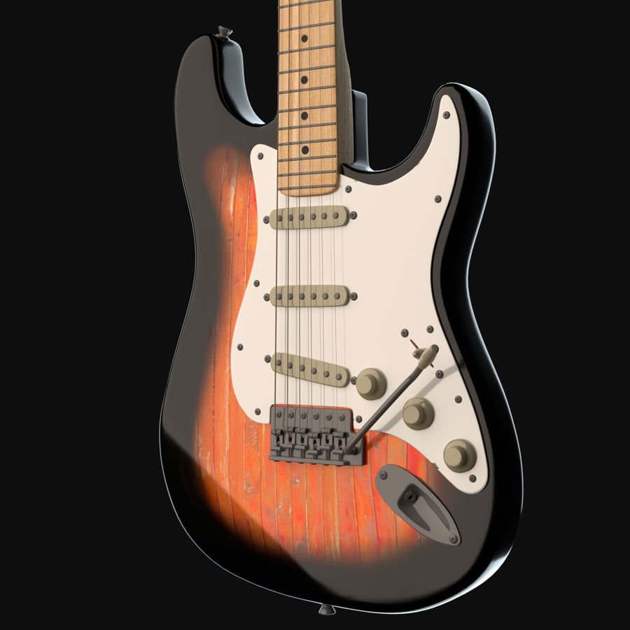 Guitare Fender Stratocaster royalty-free 3d model - Preview no. 3