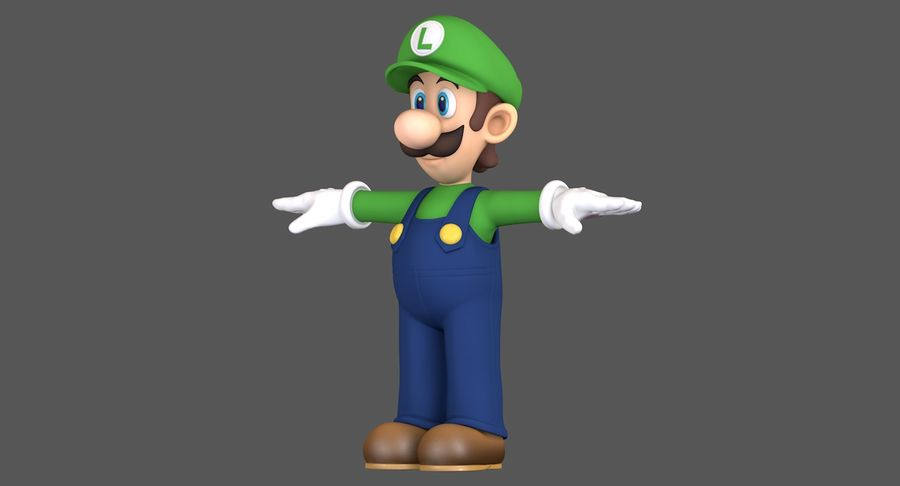 Luigi Super Mario Character royalty-free 3d model - Preview no. 2