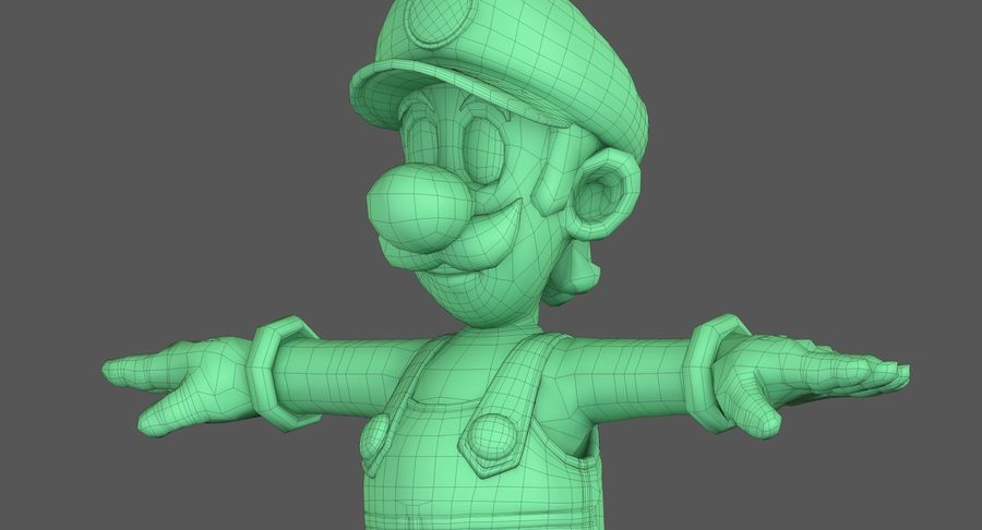 Luigi Super Mario Character royalty-free 3d model - Preview no. 15