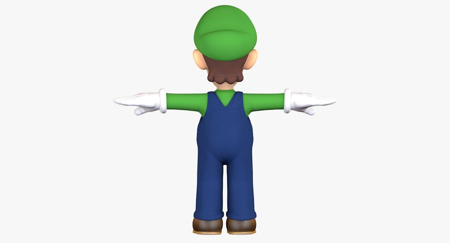 Luigi Super Mario Character royalty-free 3d model - Preview no. 6