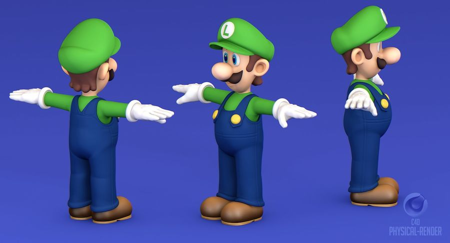 Luigi Super Mario Character royalty-free 3d model - Preview no. 11