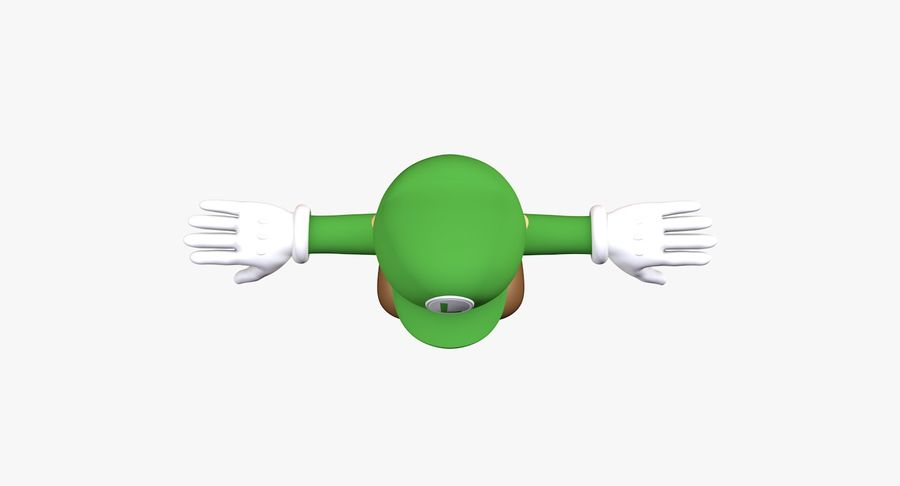 Luigi Super Mario Character royalty-free 3d model - Preview no. 8