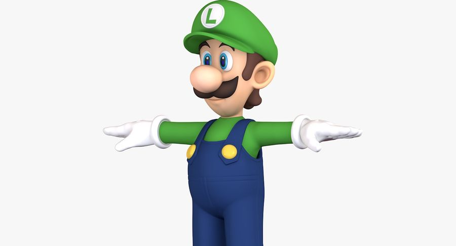 Luigi Super Mario Character royalty-free 3d model - Preview no. 9